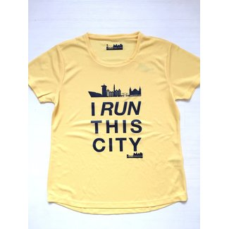 I RUN THIS CITY Hardloopshirt Geel - I Run This City Amsterdam
