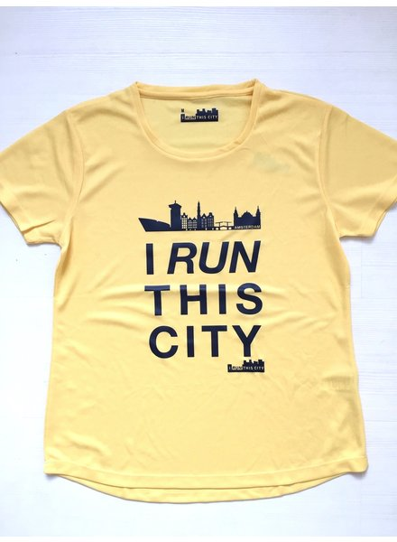 I RUN THIS CITY I Run This City Amsterdam hardloopshirt geel