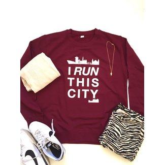I RUN THIS CITY I Run This City Amsterdam sweater Wijn Rood