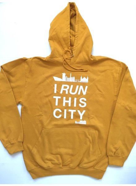 I RUN THIS CITY I Run This City Amsterdam hoodie mosterdgeel