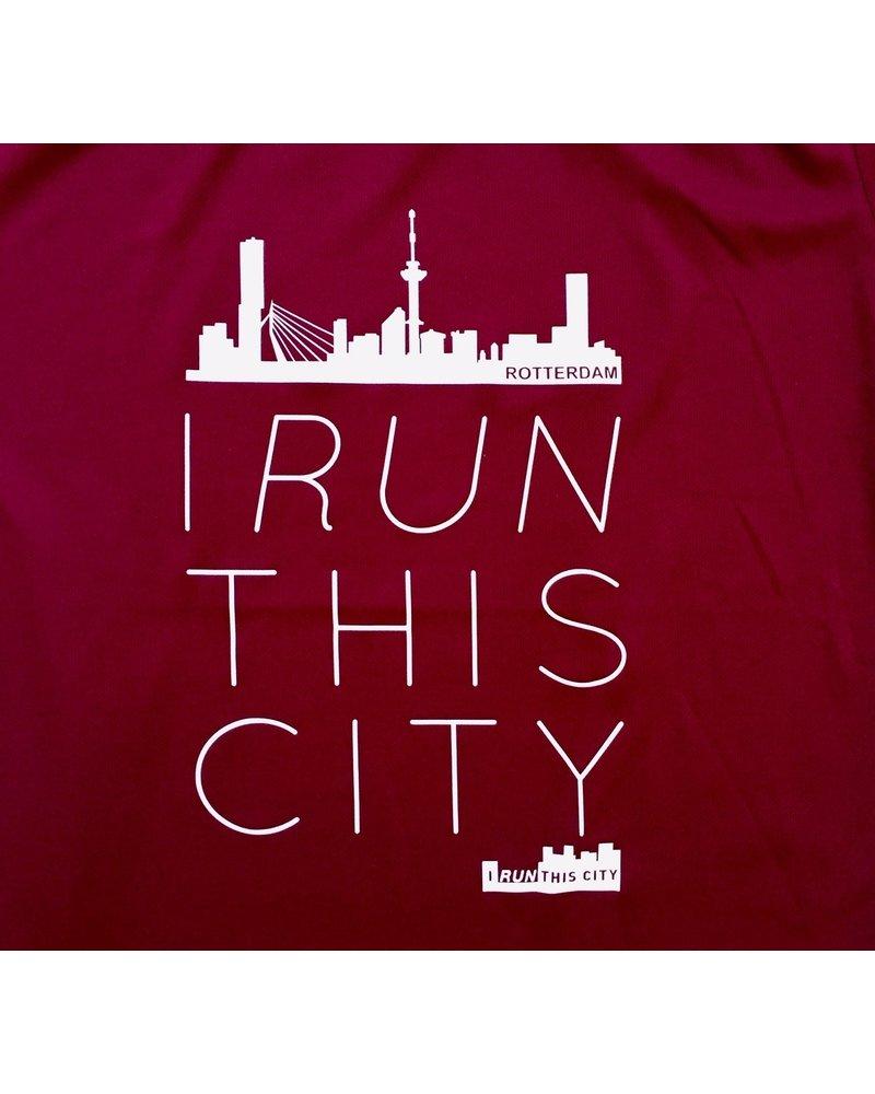 I RUN THIS CITY I Run This City Rotterdam hardloopshirt burgundy - Copy
