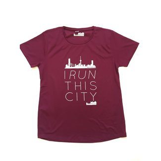I RUN THIS CITY Hardloopshirt Burgundy  I Run This City Rotterdam