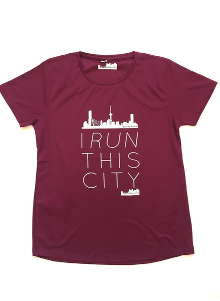 I RUN THIS CITY I Run This City Rotterdam hardloopshirt burgundy - Copy