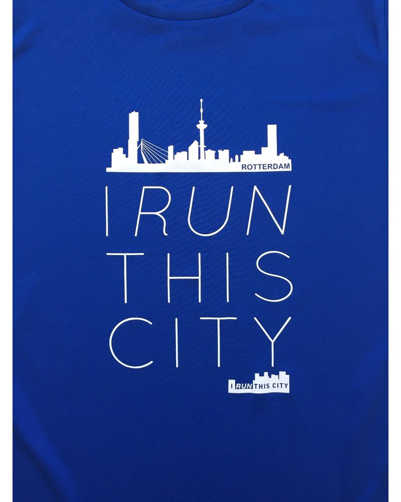 I RUN THIS CITY I Run This City Rotterdam hardloopshirt blauw