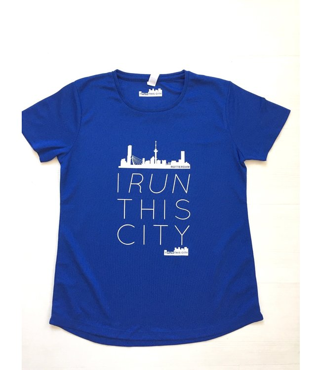 I RUN THIS CITY Blauw Hardloopshirt I Run This City Rotterdam