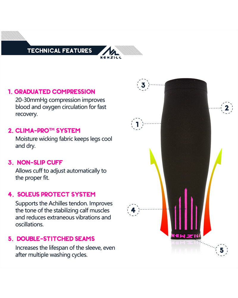 NEWZILL Newzill compressie kuit sleeves  Zwart - Roze