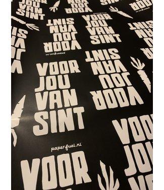 Inpakpapier Sint zwart met tekst