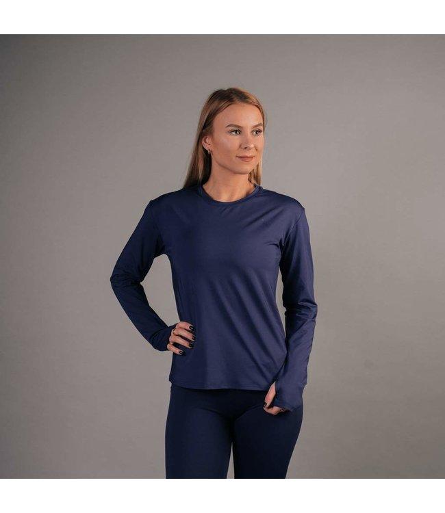 BARA Sportswear Dames hardloopshirt lange mouw Dark Blue Essential