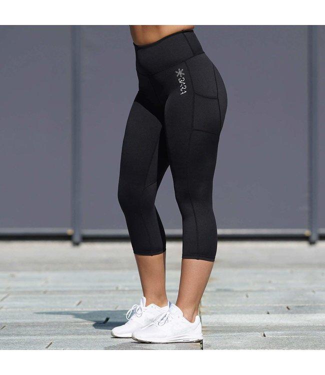 BARA Sportswear Dames hardloop capri Black Pockets