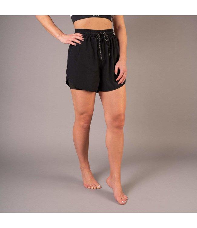 BARA Sportswear Dames hardloopbroek kort 2 in 1 atletic short zwart