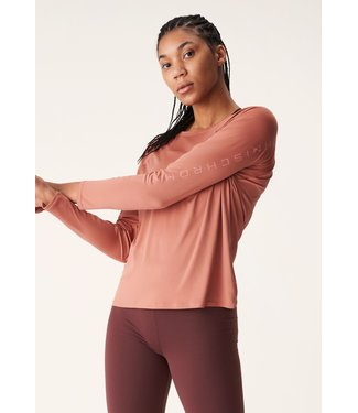 RÖHNISCH Dames hardloopshirt lange mouw Active Logo Longsleeve Copper Brown