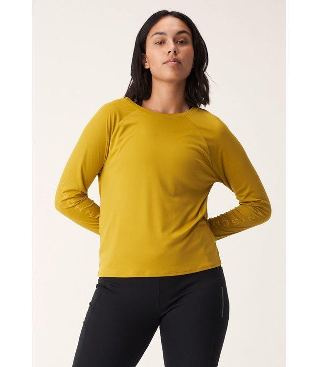 RÖHNISCH Dames hardloopshirt lange mouw Active Logo Longsleeve Golden Palm