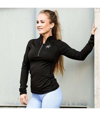 BARA Sportswear Dames hardloopshirt lange mouw Zwart