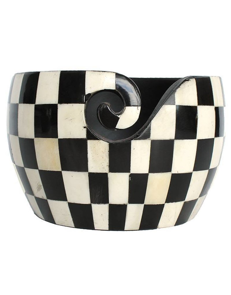 Yarn Bowl Black and White checked