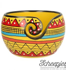 Scheepjes Scheepjes Yarn Bowl mango hout Yellow Strip