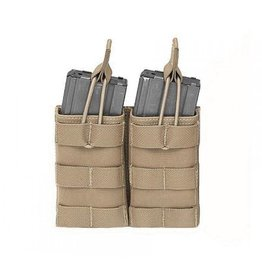 Warrior Assault Systeem Dubbel M4 Molle Open M4 5.56mm Mag Pouch / bungee Retention Coyote brown  W-EO-DMOP-5.56 -CT