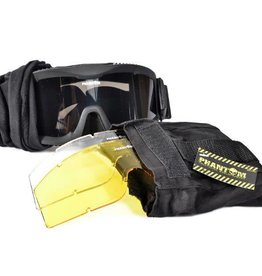 Phantom Tactical Goggle w/Three Lens Black, Desert of Green