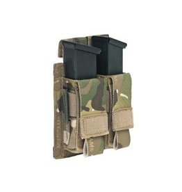 Warrior Assault Systeem MOLLE Double 9mm Direct Action Pistol Mag Pouch (Multicam)