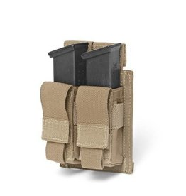 Warrior Assault Systeem MOLLE Double 9mm Direct Action Pistol Mag Pouch (Coyote)