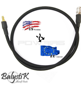 Balystik adapter - US -EU 8mm black braided line for HPA regulator