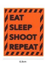 101 inc Patch 3D PVC Eat sleep shoot repeat oranje