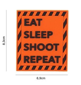 101 inc Patch 3D PVC Eat sleep shoot repeat oranje