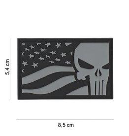 3D PVC Punisher USA vlag grijs #8083