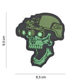 3D PVC Night vision skull groen #19043