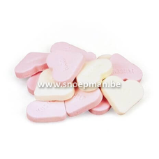 Fortuin Snoep harten groot roze wit  - 250 gr