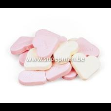 Fortuin Snoep harten groot roze wit  - 3 kg