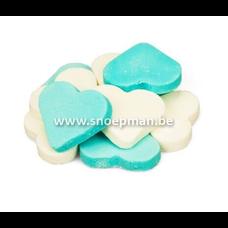 Fortuin Snoep harten groot blauw-wit  -  3 kg