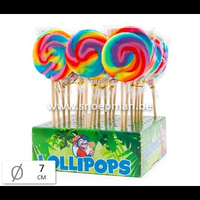De perfecte lolly snoep met regenboogkleuren