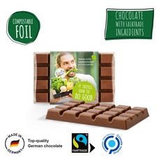 Bedrukte fairtrade chocolade - composteerbaar