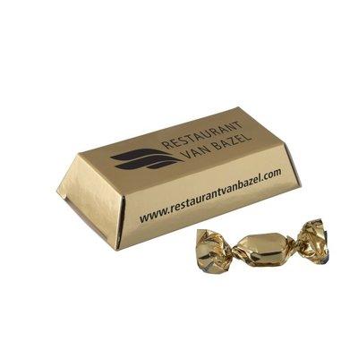 Gepersonaliseerd kleine goudstaaf met gouden zuurtjes 18 gr.