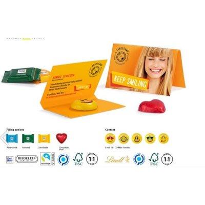 Promotie snoep-  chocolade op kaart als relatiegeschenk