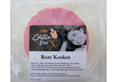 I am glutenfree Glutenvrije Roze Koeken (2 stuks) (THT 15-2-2019)