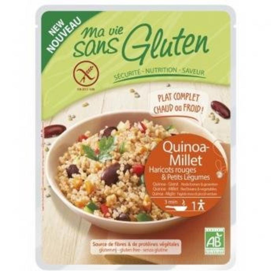 Quinoa en Gierst met Rode Bonen en Groenten Biologisch