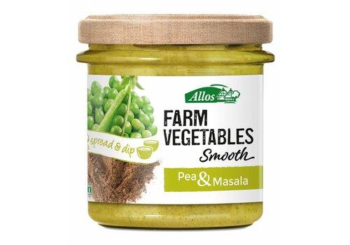 Allos Farm Vegetables Smooth Doperwten en Masala Spread Biologisch