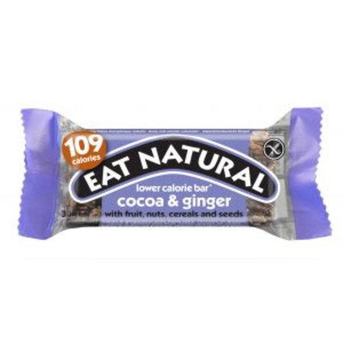 Eat Natural Cacao en Gember lage calorie reep met fruit, noten, graan en zaden (THT  11-2018)