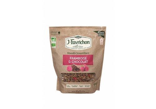 J. Favrichon Knapperige Muesli Framboos & Chocolade Biologisch