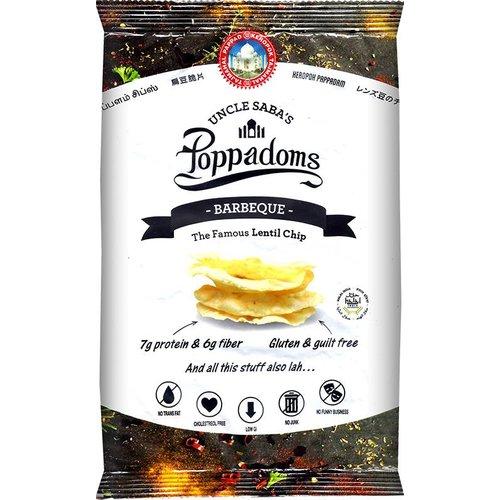 Uncle Saba's Poppadoms Barbeque Lentil Chips Zakje (THT 03-05-2019)