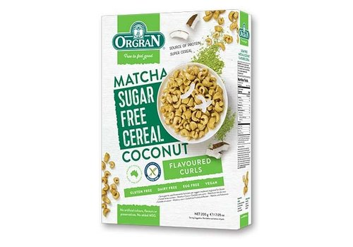 Orgran Sugar Free Cereal Matcha-Coconut (THT 23-1-2020)