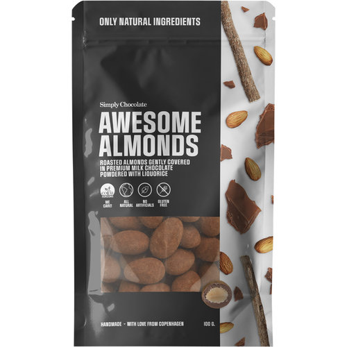 Simply Chocolate Awesome Almonds Geroosterde Amandelen in Melk Chocolade