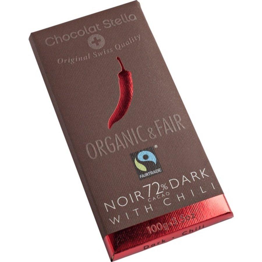 Chocoladereep 72% Puur Met Chili Biologisch  Fairtrade
