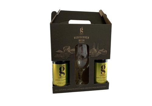 Green's Gold Dry-Hopped Lager Geschenkverpakking + Glas