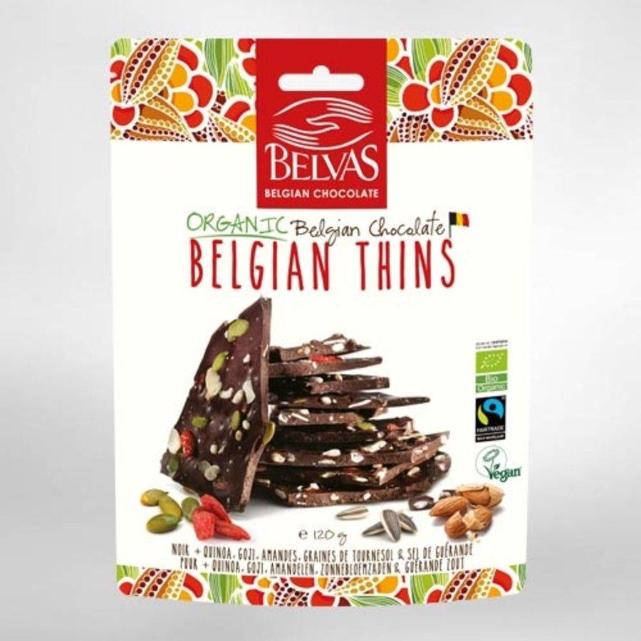 Belgian Thins Pure Chocola Quinoa Goji Bio