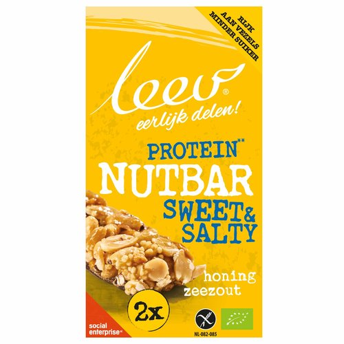 Leev Protein Nut Bar Honing Zeezout Biologisch