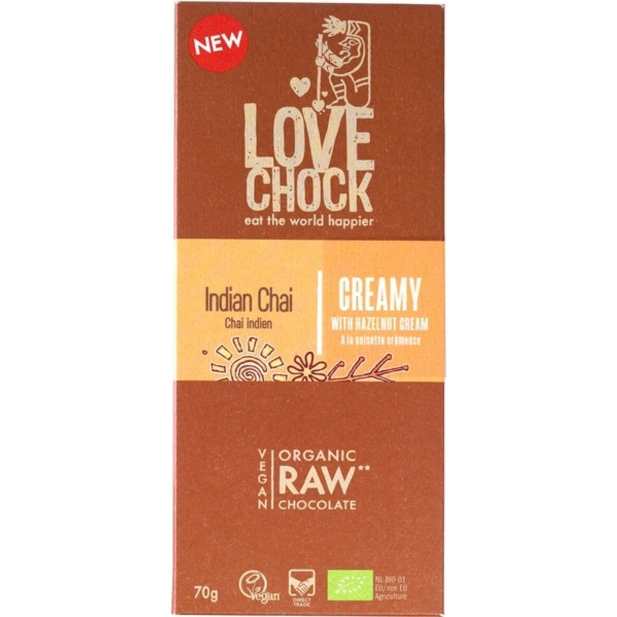 RAW chocolade creamy Indian chai Biologisch