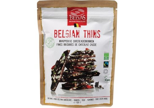 Belvas Belgian Thins Pure Chocolade Quinoa Goji Biologisch