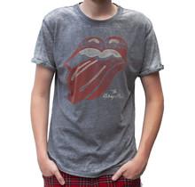 "Rockstarz T-Shirt Die Rolling Stones ""Burned Out Tongue"" Grau"